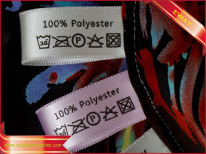 Printed Wash Care Label Garment Printed Satin Flag Label pictures & photos