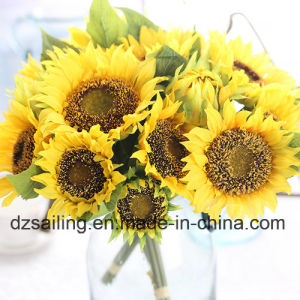 Artificial Flower of 7 Heads Sunflower Bouquet (SW22101) pictures & photos