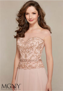 Crystal Beading Party Prom Gowns Champagne Evening Dress, Customized pictures & photos
