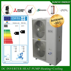 Germany -25c Winter Floor Heating 100-300sq Meter Room 12kw/19kw/35kw Defrost Evi Air Source Heat Pump Water Heater Split System pictures & photos