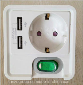 New Design European 1 Gang Switch Socket with Dual USB Charger pictures & photos