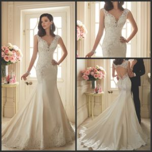 Embroidery Wedding Gown Trumpet V-Neck Bridal Lace Wedding Dress Y11629 pictures & photos