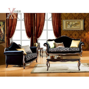 Antique Fabric Sofa Set with Carved Pattern (NCS36)