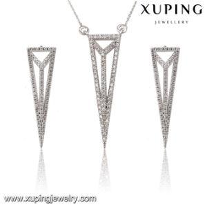 63845 Fashion Elegant CZ Diamond Rhodium Triangle -Shaped Alloy Copper Imitation Jewelry Set pictures & photos