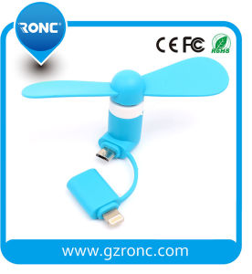 OTG Portable USB 2 in 1 Mini Fan for iPhone and Android Phone pictures & photos