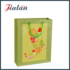 Fashion Ivory Paper Hot Stamping Christmas Stocking Shopping Gift Bag pictures & photos