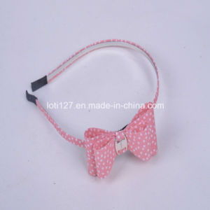 Pink Background, White DOT Dotted Around, Bowknot Shape, The Girl′s Hair Accessories Series, Fair Maiden Style, Fashion Headdress, Head Hoop, Tiaras