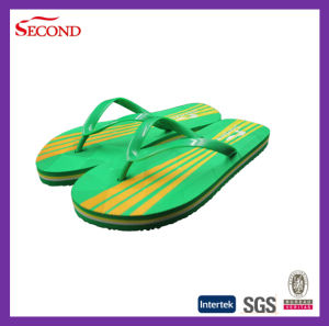 Green Color Beach PVC Strap Men Slippers pictures & photos