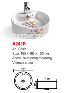Round Bathroom Washing Art Basin with Decal No. A242b pictures & photos