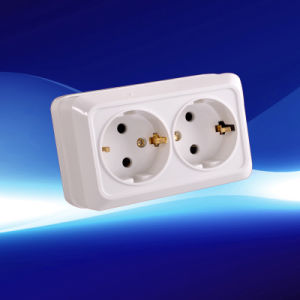 European Surface Wall Socket 2 Gang with Earthing (YW-1812)