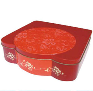 220X220xh62mm Irregular Shape Tin Cake Box pictures & photos