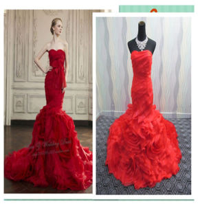 Georgeous Red Organza Wedding Bridal Dress pictures & photos