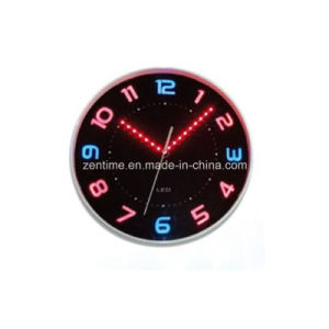 LED Quartz Analog Wall Decorative Clock with LED Hour Marks and Clock Hands pictures & photos