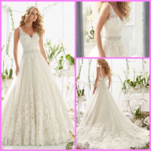 A-Line Lace Bridal Gown V-Neck Tulle Crystal Sash Wedding Dresses Mrl2821 pictures & photos