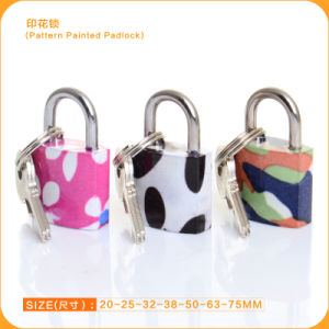 Square Type Normal Key Pattern Printed Mini Padlock