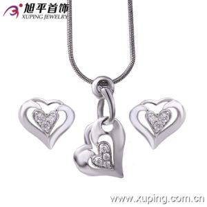Valentine′s Day Gifts Rhodium Plated Heart Jewelry Set (62377) pictures & photos