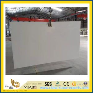 Polished Pure White Artificial Quartz Slabs for Kitchen Countertops (YQC) pictures & photos