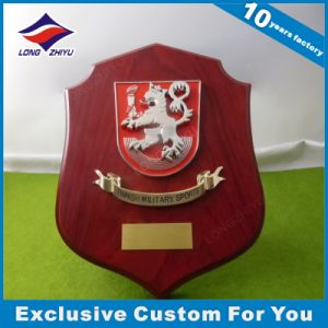 Wooden Trophy 3D Lion/Dragon Logo with Enamel Wood Shield Plaque pictures & photos