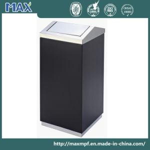 Stainless Steel Swing Top Trash Can Black Body Waste Bin pictures & photos