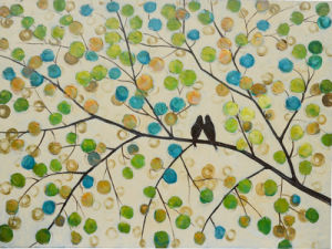 Two Birds Oil Painting on Canvas 100% Handmade Wall Image (LH-051000) pictures & photos