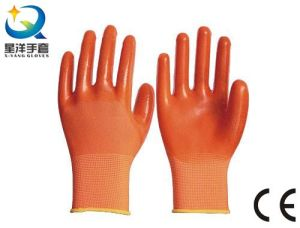 13G Nitrile Orange Polyester Shell, Orange PVC 3/4 Coated (N6030) pictures & photos