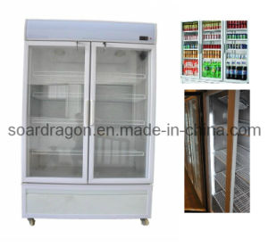 Supermarket Drinking Double Glass Doors Refrigerator Showcase (2 door) pictures & photos