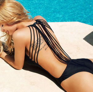 swimming Pool Summer New Model Sex Black off-The-Shoulder Overalls Fringe Hollow out Swimwear pictures & photos