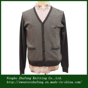 Men′s Herringbone Knit Cardigan Sweater (NBZF0033)