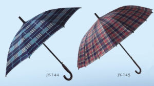 Auto Open Check Printing Straight Umbrella (JY-144) pictures & photos