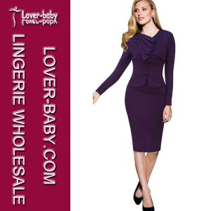Purple Office Casual Pencil Lady Woman Dress (L36005-1) pictures & photos
