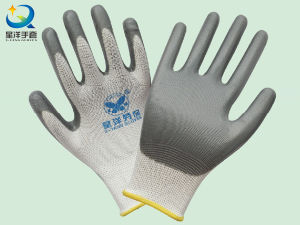 White Polyester Grey Nitrile Coated Procective Safety Work Gloves (N6007) pictures & photos