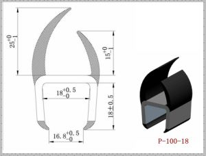 Dual Hardness PVC Container Truck Door Seals P-100-18