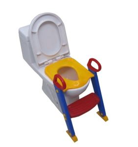 Baby Polly Plastic Toilet Training Seat with Handle and Step