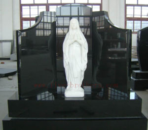 Absolute Black Granite Monument Virgin Mary Headstone