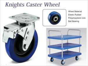 Industrial Swivel Locking Blue Elastic Rubber Caster Wheel