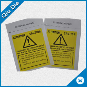 Yellow Caution Printing Wash Care Label for Clothing pictures & photos