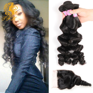 Brazilian Loose Wave Virgin Hair with Lace Closure 4 Bundles with Closure Human Hair with Closure Rosa Hair Products Extensions pictures & photos