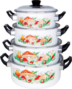 High Quality 4 PCS Set Enamel Pot with Enamel Lid pictures & photos