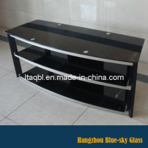TV Table Glass with Black Painted