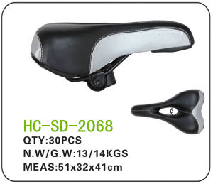 Black and White Leather MTB Saddle (SD-2068) pictures & photos
