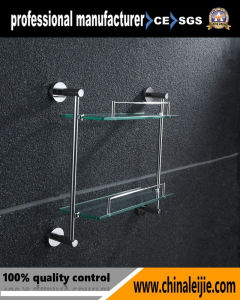 Wall Mounted Elegant Double Layer Glass Shelf Bathroom Accessory for Hotel pictures & photos