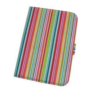 Leather and Rainbow Strips Canvas Fabric Case for iPad Mini (APP-IPAMi-LTHR-STD-RB)