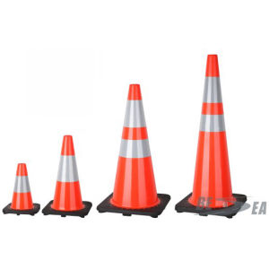 Orange Black Base Reflective PVC Traffic Road Safety Cone pictures & photos