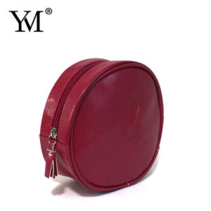 Personalised Good Quality Fashion PVC Leather Round Cosmetic Bag pictures & photos