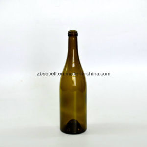 750ml Cork Finish Burgundy Glass Wine Bottles pictures & photos