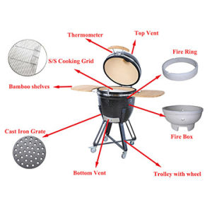 Outdoor Portable 21 Inches Ceramic Kamado BBQ Grill