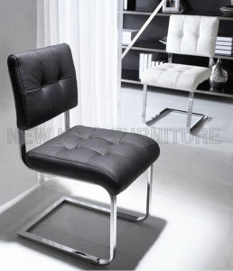 Modern Cheap Chrome Steel Foot PU Leather Dining Chair (NK-DC092)