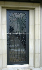 House Custom Iron Single Exterior Doors with Tempered Glass pictures & photos