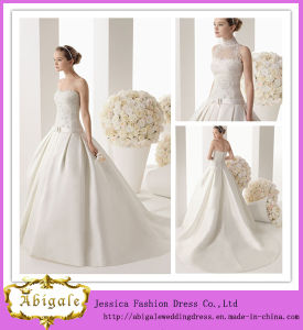 Latest Designs White Floor-Length Ball Gown High Collar Strapless Zipper Back Court Train Lace and Satin Muslim Wedding Dress (ED10035) pictures & photos
