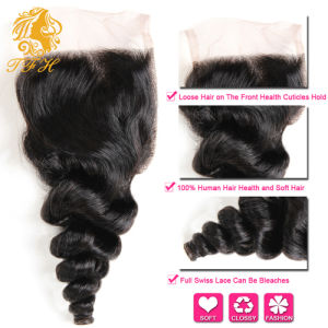 Brazilian Virgin Hair Loose Wave with Closure, 7A Brazilian Hair Weave 3 Bundles with Lace Closure Thick Human Hair with Closure pictures & photos